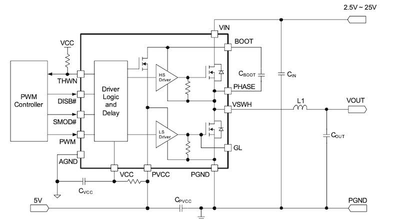 The typical application circuit for a single-phase AOZ53117NQI,