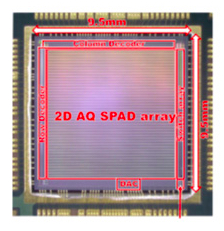 Toshiba's new SiPM chip measures 9.5 mm by 9.5 mm