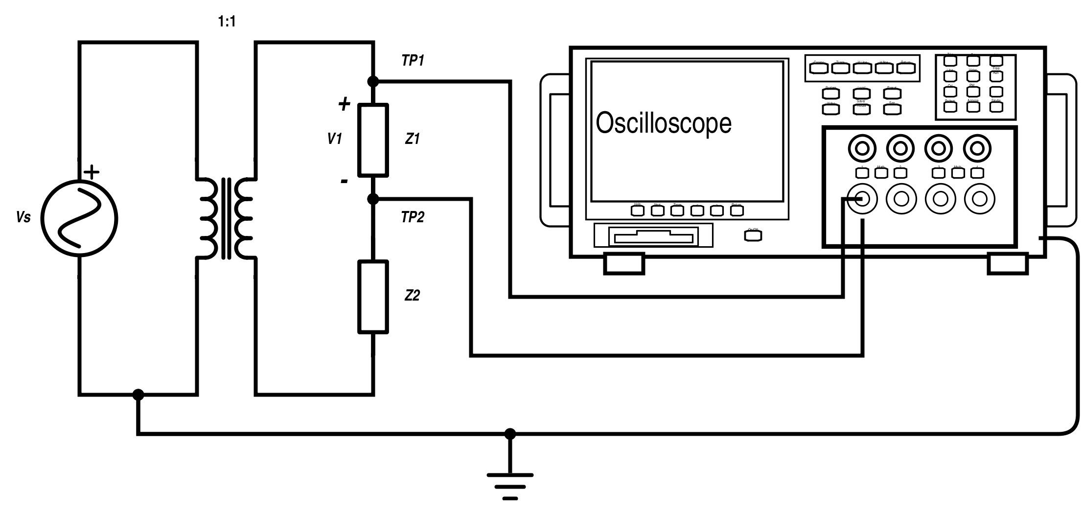 Transformer Isolation on ohmmeter in circuit diagram