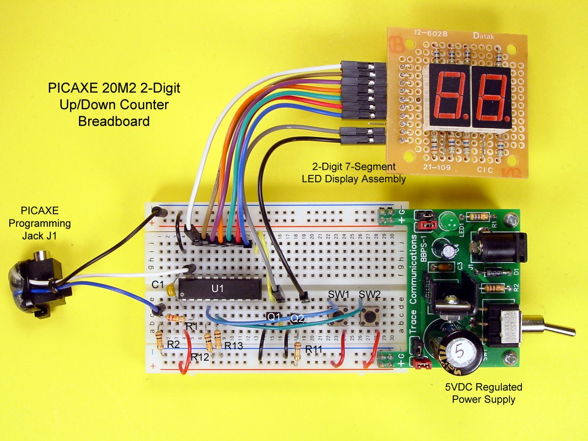 Build A 2 Digit Up Down Counter With Picaxe 20m2 Segment Display Circuit Diagram The Schematic