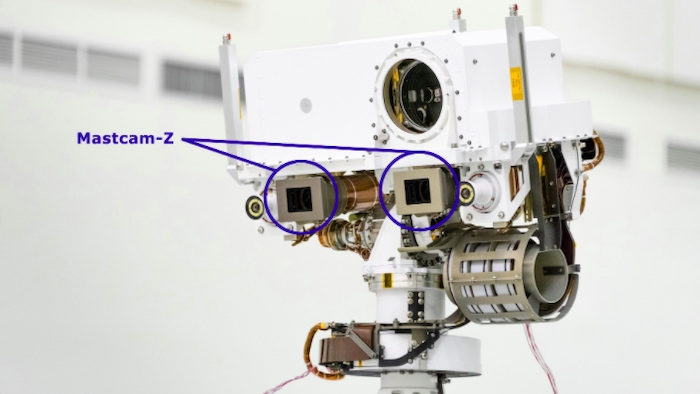 Two Mastcam-Z sensors are attached to the mast