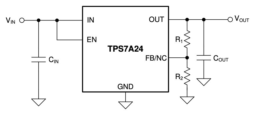 Typical application circuit for TPS7A24