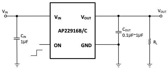 Typical application circuit for the AP22916