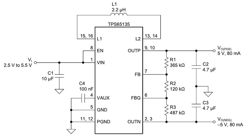 Typical application circuit of TPS65135