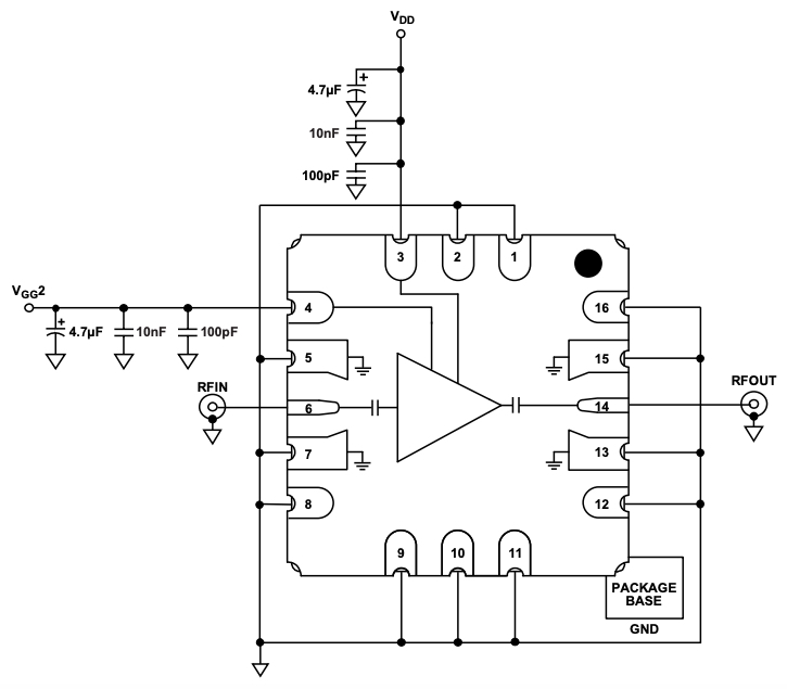 Typical application circuit using HMC7950.