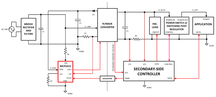 Typical application circuit using a primary-side start-up IC