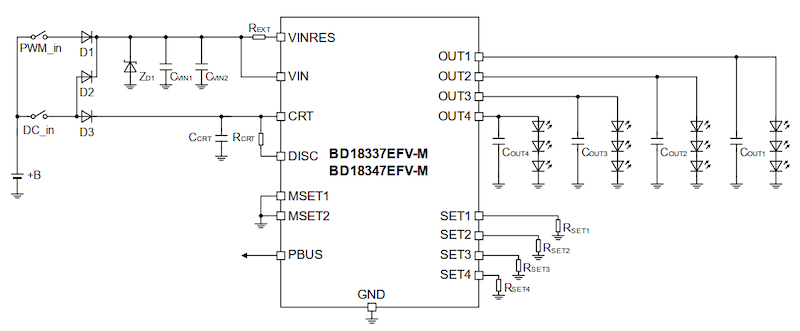 Typical application schematic of BD18337EFV-M