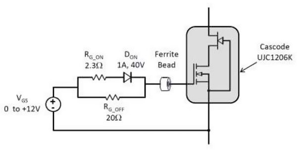 Diode enables control of an SiC cascode on and off times separately