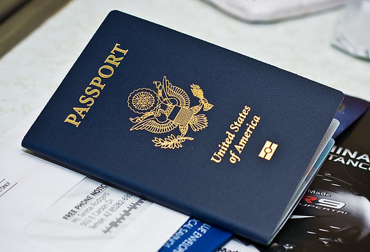 Image of a US passport with an RF chip