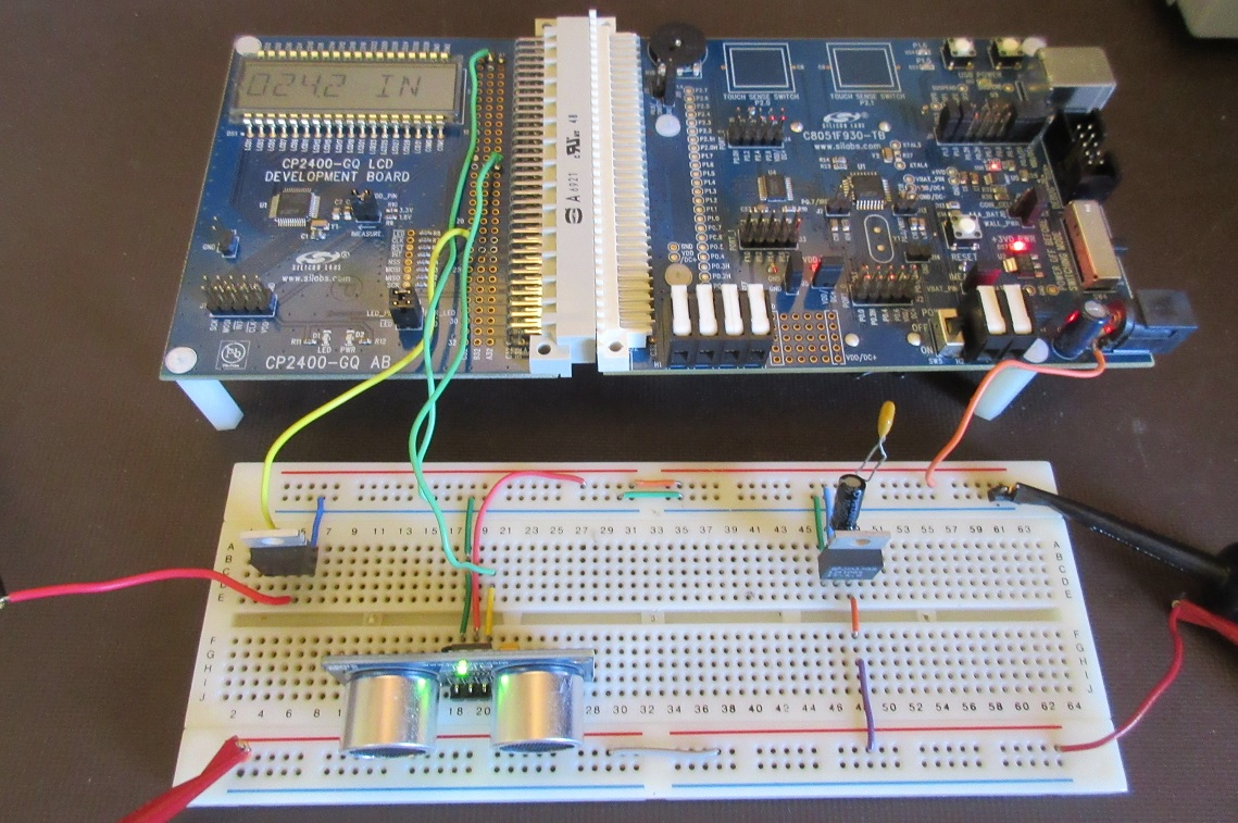 How To Interface An Ultrasonic Sensor With Lcd Using A Figure 2 Circuit For Connecting Optical Digital I O 11 The Breadboard System Is Energized And Functional Click Enlarge