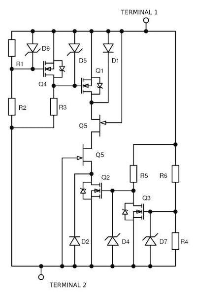 Figure 6. Two-terminal self-biasing circuit breaker concept