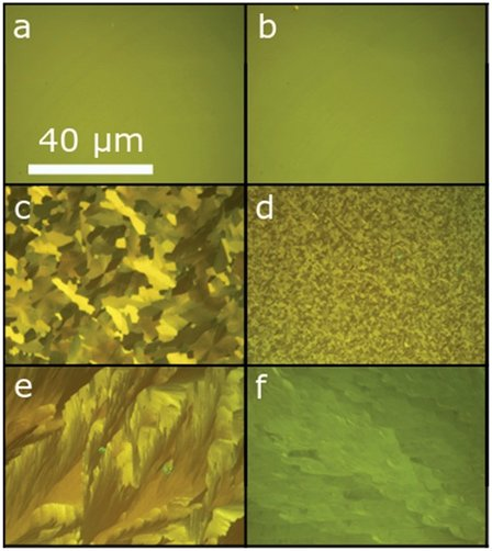 Various optical images of silicon chips with thin films of Sb2S3 (pictured in a, c, and e) and  Sb2Se3 (pictured in b, d, and f).