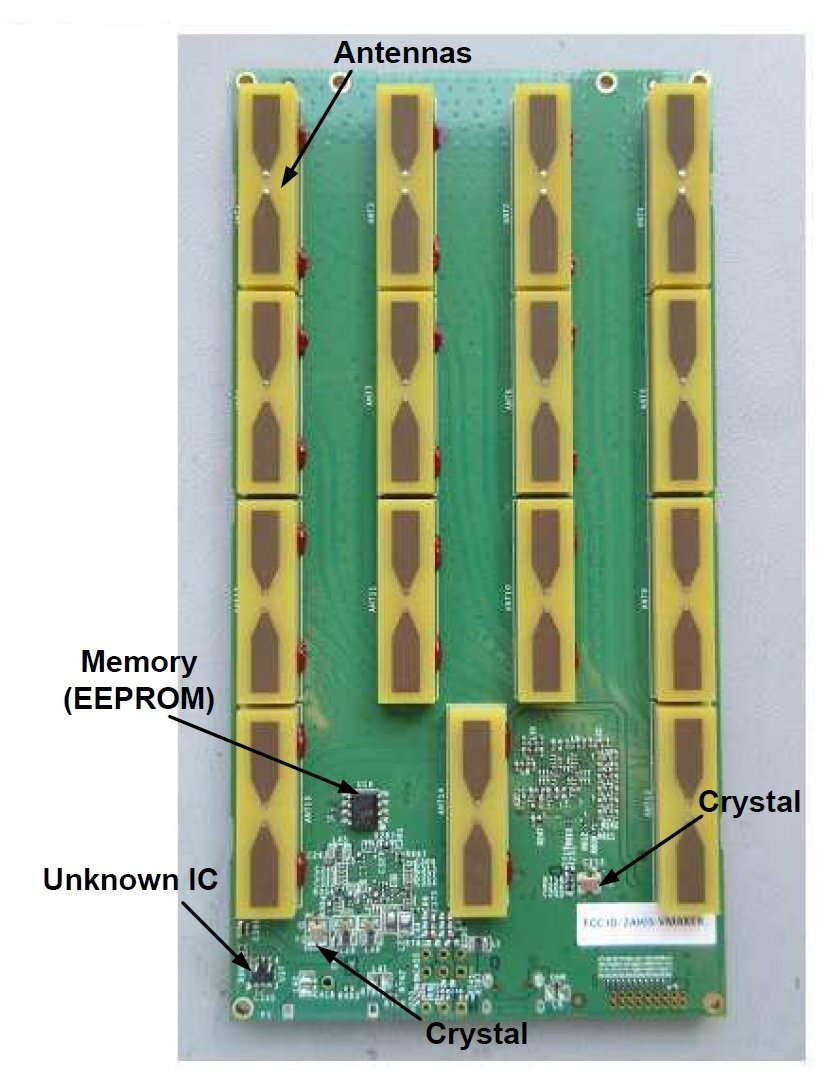 Components identified on the PCB's bottom side