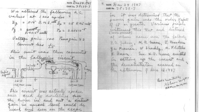 Walter Brattain's notebook entry records from 1947 when the transistor effect was discovered