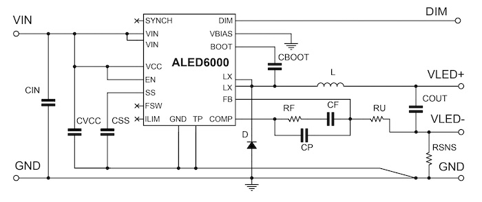 An application schematic for the ALED6000.