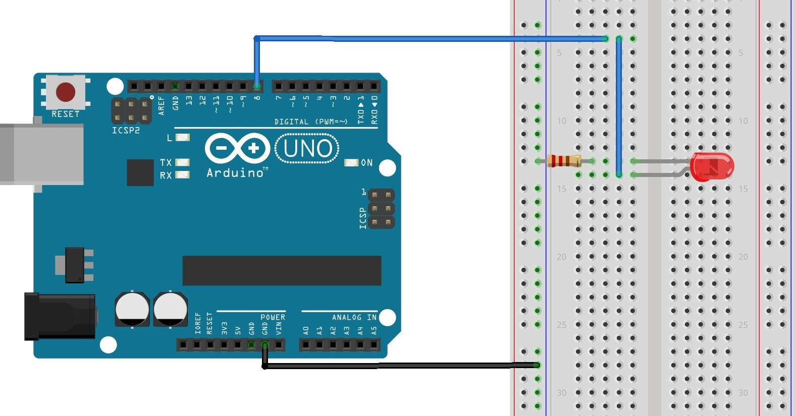 Wiring Diagram. The figure above shows how to connect the LED and the 220  ohm resistor to the Arduino. As shown, the LED connects to digital I/O pin  8 of ...