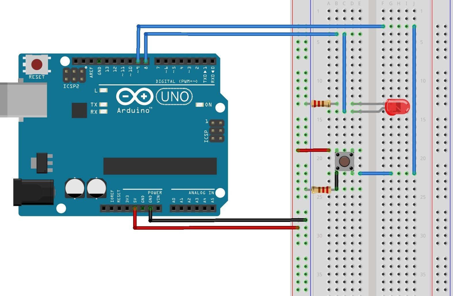 As you can see from the diagram above, we are now using two Arduino digital  I/O pins. An LED is connected to pin 8, which is configured as an OUTPUT.