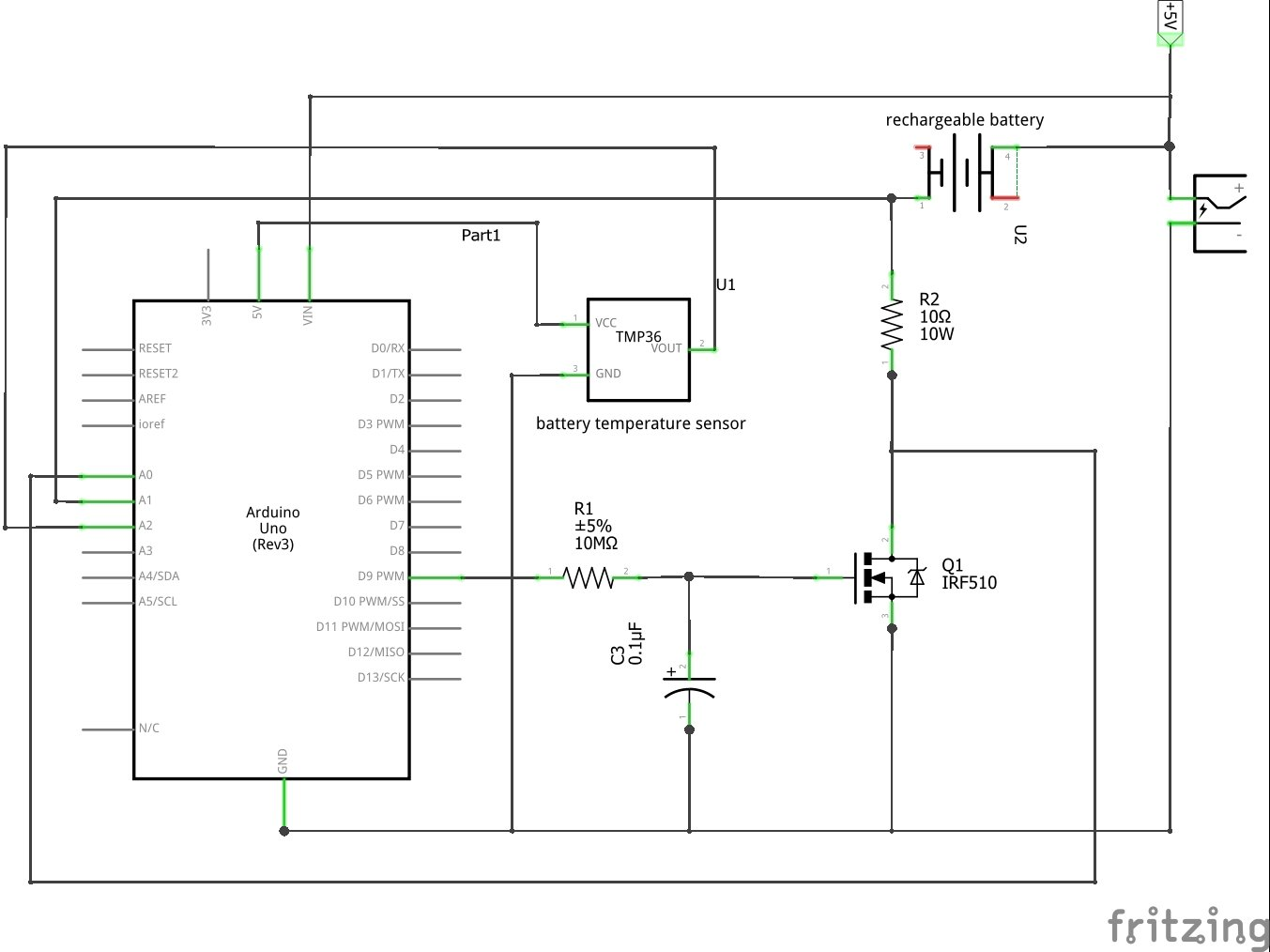 Create an arduino controlled battery charger a fritzing diagram of the project ccuart