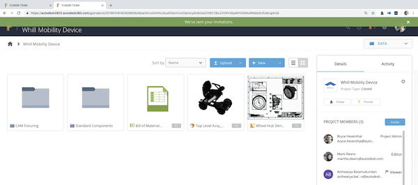 One view within the project dashboard.