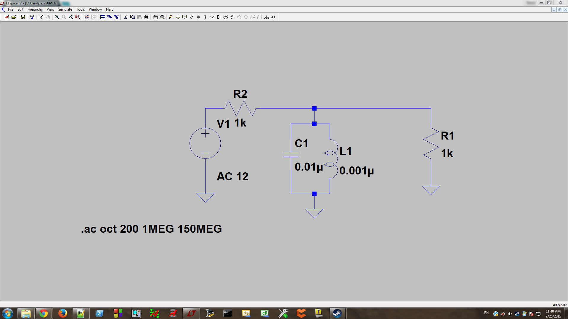 Basic Circuit Simulation With Ltspice Figure 3 Simple Lowpass Rc Source Voltage Simulate A Bandpass Lc Filter