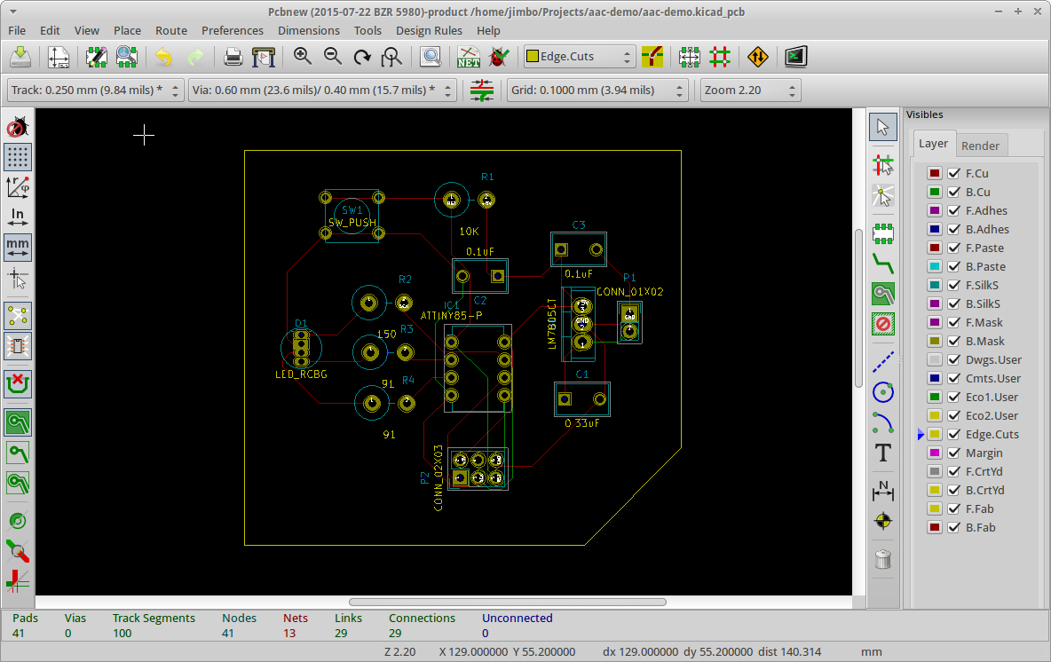 Introduction To Kicad On Ubuntu Photo Flash 220v Flasher Circuit Electronics Projects Circuits Routed Board With A Pentagonal Outline