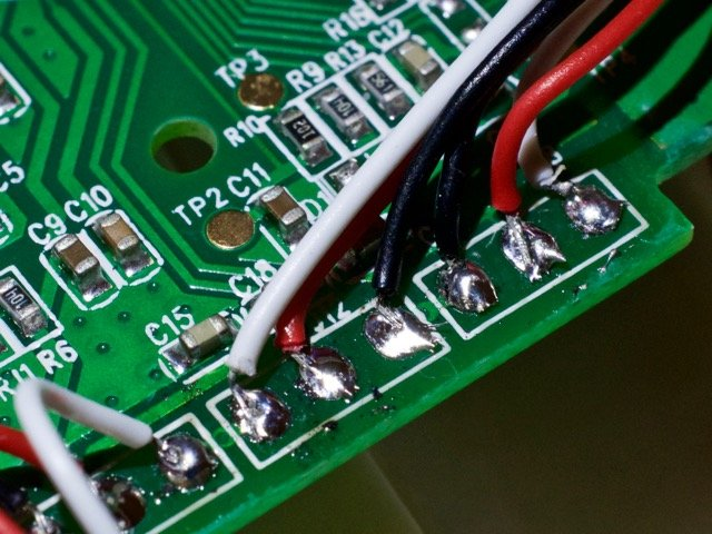 The hand soldered wires on the bluetooth scale