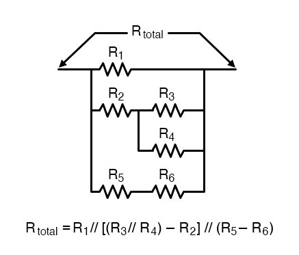 The same connection pattern as the relay contacts in the former circuit, and corresponding total resistance formula.