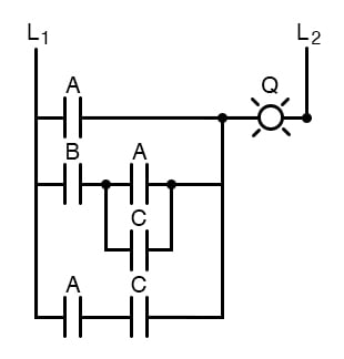 Boolean simplification for electromechanical relay circuits example.