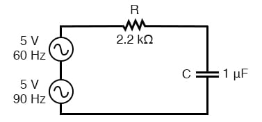 Circuit driven by a combination of frequencies: 60 Hz and 90 Hz