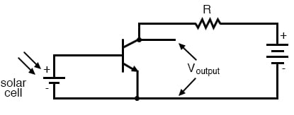 Common emitter amplifier develops voltage output due to the current through the load resistor.