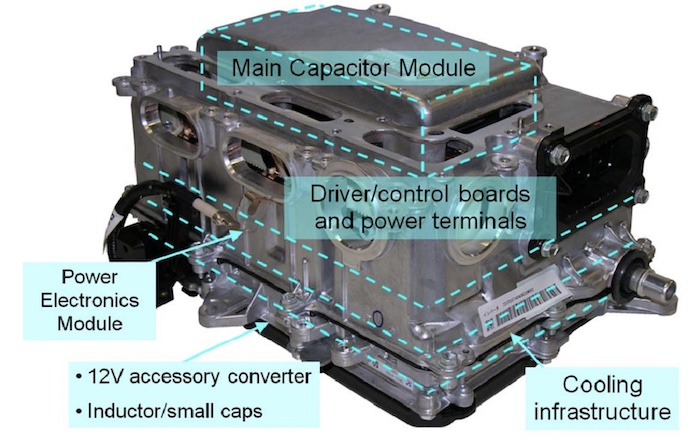 The 2010 Prius compartments for the inverter and converter assembly.
