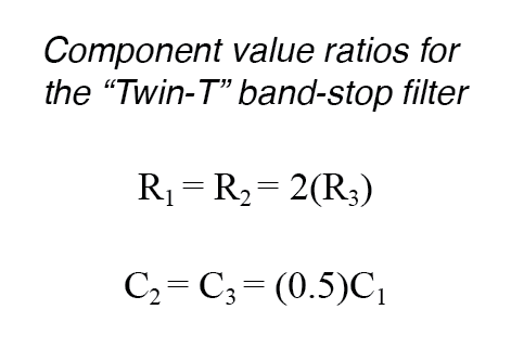 component values twin t ratios
