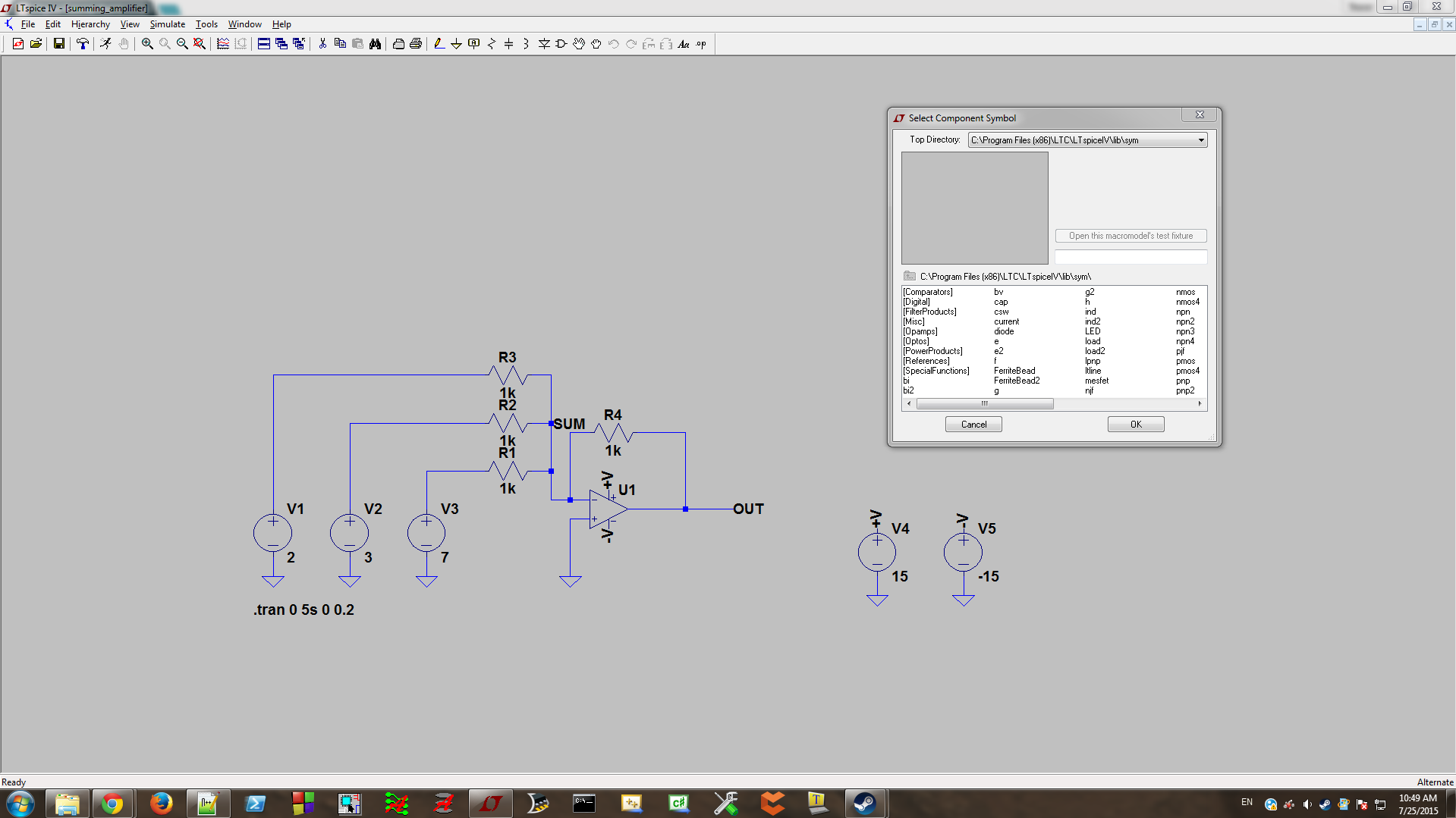 Basic Circuit Simulation With Ltspice Diode Wiring Diagram Get Free Image About The Pop Up Component Window Place It Anywhere On Schematic