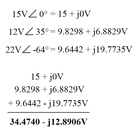 adding these figures together because the polarity marks for the three voltage sources are oriented in an additive manner