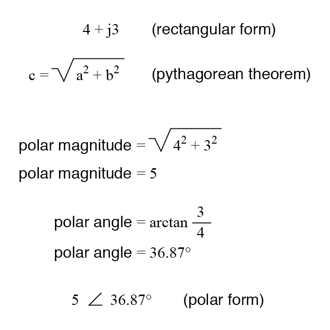 converting rectangular form to polar form