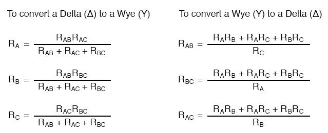 delta wye conversion equations