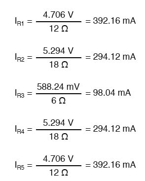 determine resistor currents through ohms law