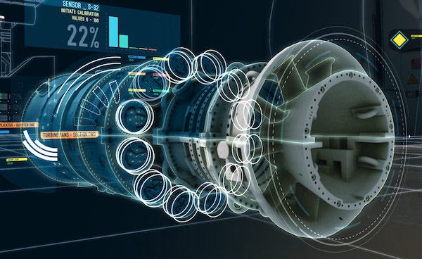 An illustration of a digital twin turbine developed by General Electric.