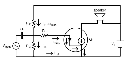 Diode transistor model shows loading of voltage divider.