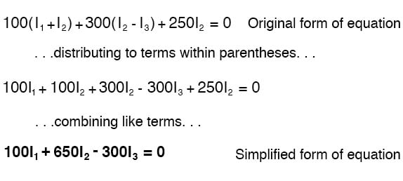 distributing terms within parentheses