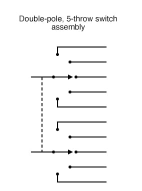 Double-pole, 5-throw switch assembly
