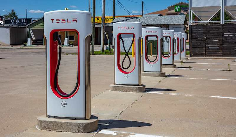 A Tesla electric vehicle charging station.