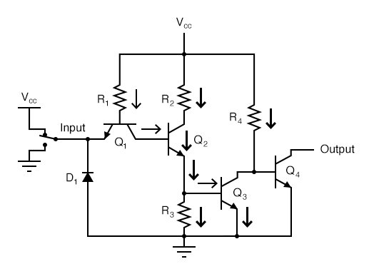 "The ""high"" input causes no conduction through the left steering diode of Q1 (emitter-to-base PN junction)."