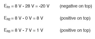 equation for resistor voltage drops