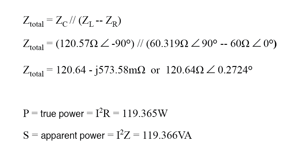 equation for the power factor for circuit
