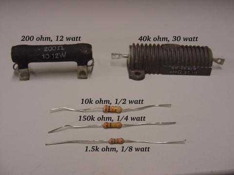 example of sizes resistors