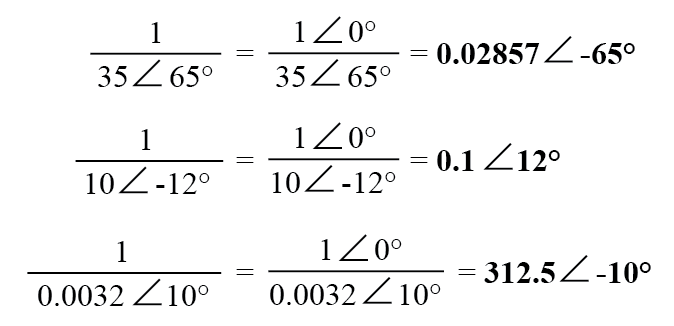 "obtain the reciprocal, or ""invert"" (1/x), a complex number"