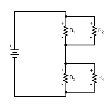 four resistor series parallel configuration
