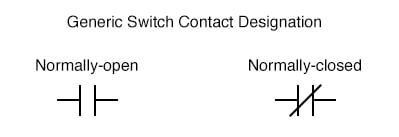 Generic Switch Contact Designation Normally-open and Normally-closed