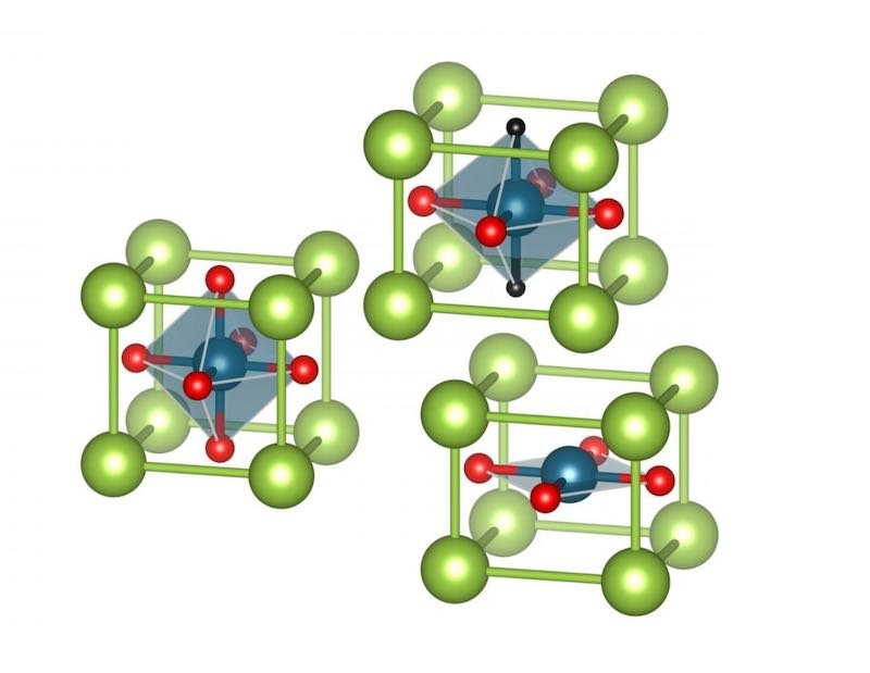 A graphic showing hydrogen incorporated into a nickelate structure.